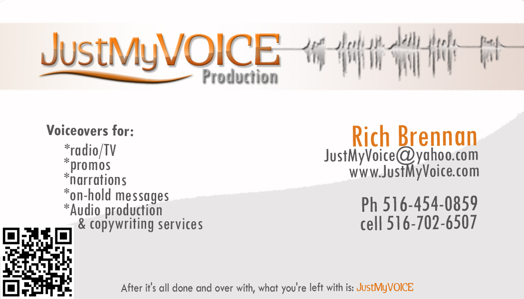 Voiceover business male voice talent voice actor audio i have another batch of cards with the qr code on the back below youll notice that wherever you look my business name is visible colourmoves